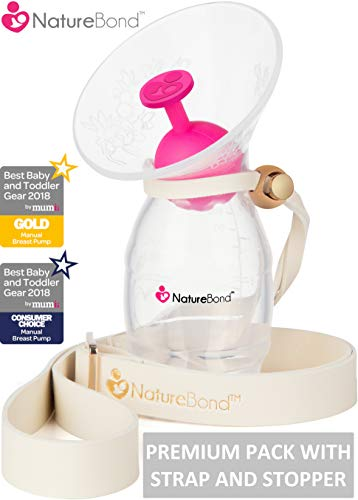 Tire-lait manuel en silicone NatureBond pour allaitement / Bouchon de tire-lait en BONUS, couvercle,...
