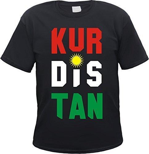 HB_Druck Kurdistan T-Shirt Motiv Schwarz S