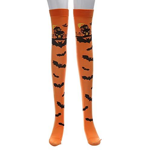 INLLADDY Damen Halterlose Strümpfe Halloween Streifen Drucken Prom Party Strümpfe Tägliche Cosplay Kleidung Orange 68cm