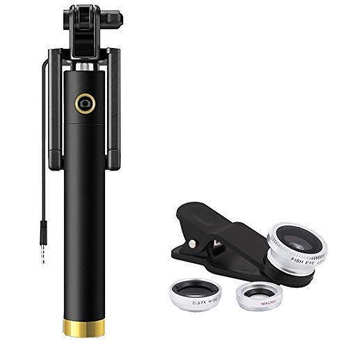 Lambent Locust Aux Cable Monopod Selfie Stick with 3 in 1 0.4X Super Wide Angle + 180° Fisheye & 10X Macro Camera Lens for iOS & Android Smartphones