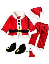 QUICKLYLY 4PCS Conjunto de Navidad para Bebé Niña Niño Santa Tops+Pantalones + Sombrero +