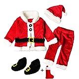 QUICKLYLY 4PCS Conjunto de Navidad para Bebé Niña Niño Santa Tops+Pantalones + Sombrero + Medias Ropa (12~18 Meses(90))
