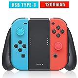 Soporte de Carga para Nintendo Switch Joy-Con, Confort Grip Carga para Mando Joy-Cons con Batería Recargable Incorporada de 1200mAh, Cable de Carga y 2 Pro Thumb Grips incluidos