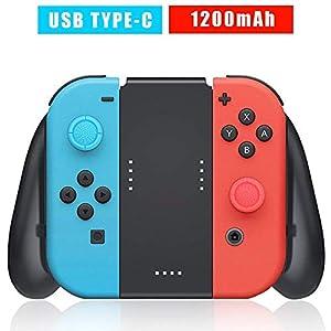Joy-Con Ladegerät und Halterung Grip für Nintendo Switch, Eingebauter 1200mAh Akku, USB C Ladekabel und 2 Pro Control Sticks Enthalten