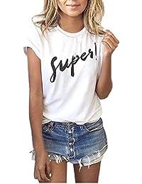 Yeamile���� Camiseta de Mujer Tops Negro Blusa Causal Ocasionales Camiseta Sueltas Camiseta Blusa para Mujer de Manga Corta (Blanco, XL)