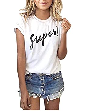 Yeamile💋💝 Camiseta de Mujer Tops Negro Blusa Causal Ocasionales Camiseta Sueltas Camiseta Blusa para Mujer de...