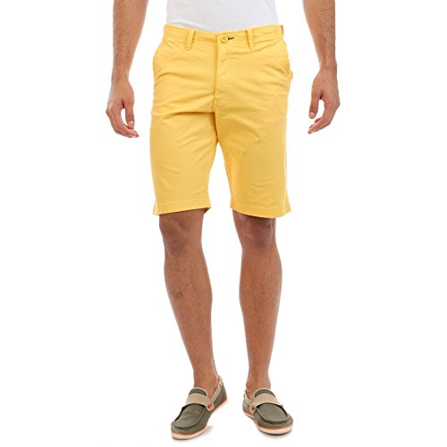 Sting Yellow Solid Slim Fit Stretchable Cotton Shorts