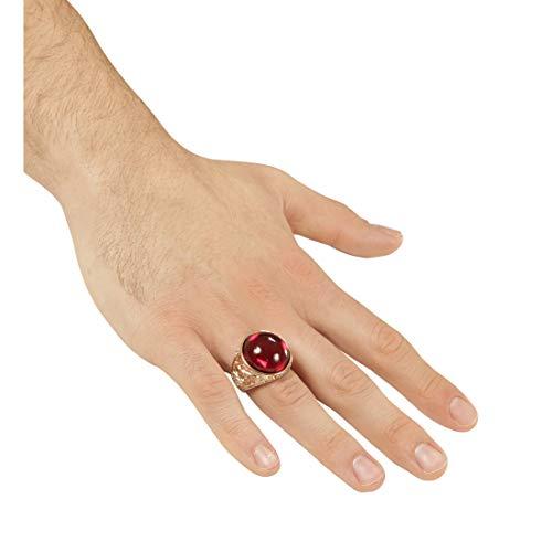 Amakando Auffälliger Piraten-Ring mit Fake-Rubin / Gold-Rot / Modeschmuck Fingerring Vampir / Genau richtig zu Mottoparty & - Metall Schädel Biker Kostüm