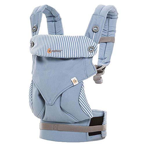 Ergobaby Babytrage bis 20kg, 360 Azure Blue 4-Positionen Baby-Tragetasche, Kindertrage Rückentrage Bauchtrage