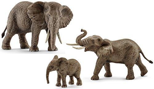 Schleich - Set de 3 figuras Familia de Elefantes Africanos. Elefante Macho,...