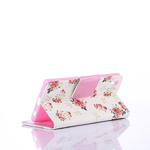 Coque pour Sony Xperia Z5, Etui pour Sony Xperia Z5, ISAKEN Élégant Style PU Cuir Flip Magnétique Portefeuille Etui Housse de Protection Coque Étui Case Cover avec Stand Support et Carte de Crédit Slo Rose Mini