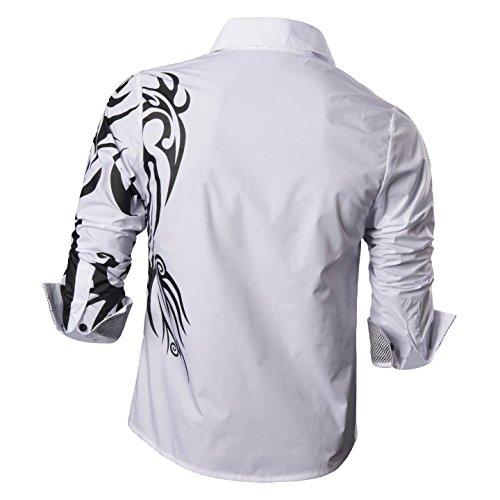 jeansian Herren Freizeit Hemden Shirt Tops Mode Langarmshirts Slim Fit Z001 White