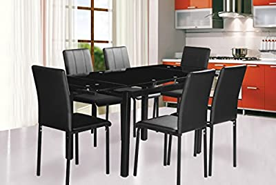 Dining Table and 6 chairs Extending dining table in Black Glass Top and 6 PU chairs Black Leg sale - inexpensive UK dining table shop.