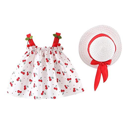 Floral Straw Hat (Prinzessin Kleid Pwtchenty Kleider Damen Sommer Sling Ärmelloser Kirsch Druck Geraffte Dress + Straw Hat Strandkleid Sommerkleid Outfits Kleidung)