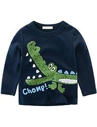 b57c4a6f6 BOBORA Baby Boy Kids Long Sleeve Dinosaur T-Shirt Children Cartoon Cotton Sweatshirts  Tops for