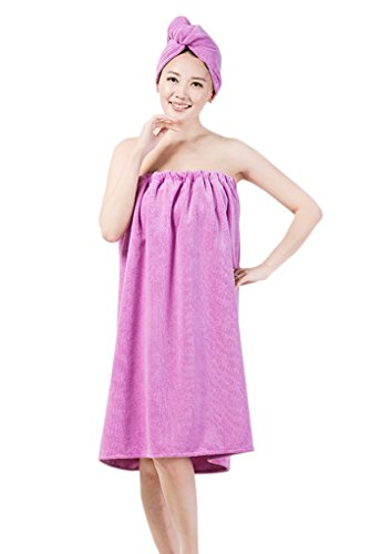- 41S7NZxu97L - Women Wrap Towel Robe Spa Bathrobe Set Adjustable Chest Microfiber Bath Shower Cover up Dressing Gown with Dry Hat