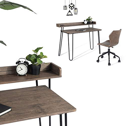 HOMYCASA Computer Desk Writing Table Wooden Black