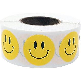 Gelb Glücklich Gesicht Kreis Punkt Aufkleber, 19 mm 3/4 Zoll Runde, 500 Etiketten auf einer Rolle