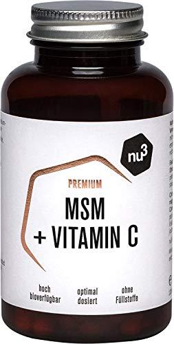 nu3 Premium MSM – 120 Kapseln – 1000 mg Methylsulfonylmethan (MSM) – bessere Bioverfügbarkeit durch Vitamin C – für Veganer geeignet – ohne Magnesiumstearat – gelatinefreie Cellulosekapseln