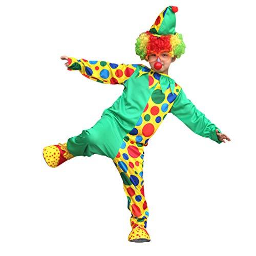 MisFox Kinder Clown Kostüm Funny Halloween Jumpsuit Clownanzug für Fasching Kostüm Clownanzug mit Zubehör,Größe 90-150cm