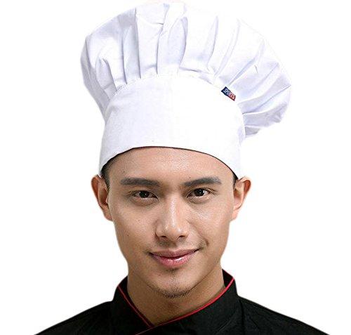Leisial Mode Unisex Kochmütze Erwachsene Kochmütze Weiß Kochmütze Baumwolle Kochmütze Erwachsene mit Einziehbares Seil
