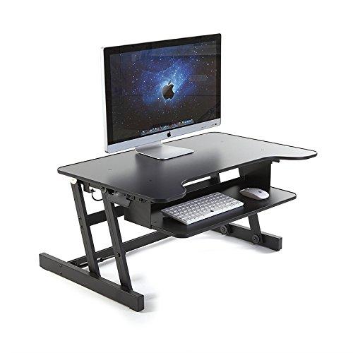ER Gesunde Sit-Stand Workstation Desktop Computer | Höhenverstellbare Stehpult | Heben und Senken Table Top in verschiedene Positionen für Ergonomic Comfort (schwarz) -