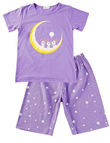Little Hand Kinder Schlafanzug Mädchen Kurz Einhorn Giraffe Flamingo Mond Katze Sommer Zweiteiliger Baumwolle Nachtwäsche T-Shirt und Hose 92 98 104 110 116 122 -