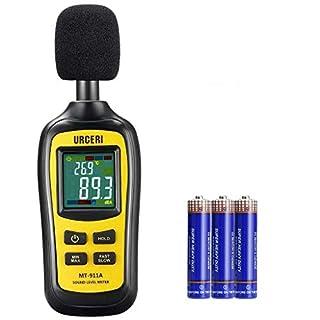URCERI Digital Sound Noise Decibel Meter Tester Calibrator 35dB-135dB Sound Level, Temperature Measurer, with Max/Min/Hold Mode, Large LCD Color Screen Backlit Display, Batteries Included