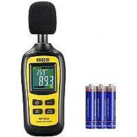 URCERI Medidor de Sonido, Decibelímetro, 35-135 dB, Datos Máximos/Mínimos / Retención, Medidor de temperatura y pantalla LCD, Incluida la batería