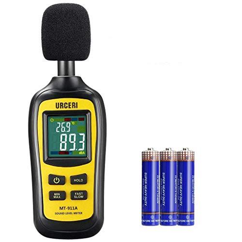 URCERI Schallpegelmessgerät - Digital Sound Level Meter Lärm-/ db-Messgerät mit Messbereich 35dB - 135dB, Max / Min / Haltedaten, Temperaturmesser und LCD-Display