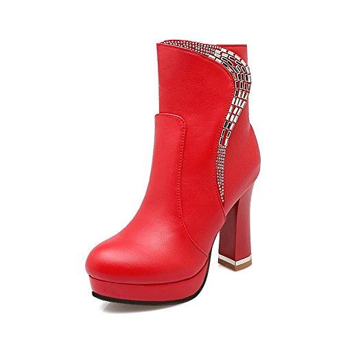 VogueZone009 Damen Rund Zehe Rein Niedrig-Spitze Niedriger Absatz Stiefel mit Reißverschluss, Rot, 39