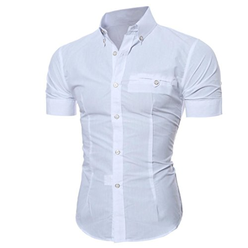 Forh Herren Slim Hemd Simple Mode Solid Farbe Langarmshirt Formell Business Hemden Freizeit Stehkragen Shirt Casual Shirt Trachtenhemd T-Shirt Fürsoktoberfest Geeignet (M, Weiß (Kurzarm))