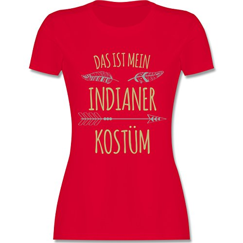 Kostüm Roter Pfeil - Karneval & Fasching - Das ist Mein Indianer Kostüm - XXL - Rot - L191 - Damen Tshirt und Frauen T-Shirt