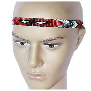 Hejoka-Shop Indianer Stirnband ELASTISCH Hutband Perlen Kopfschmuck Adler Verschiedene Motive Fotoshooting Fasching