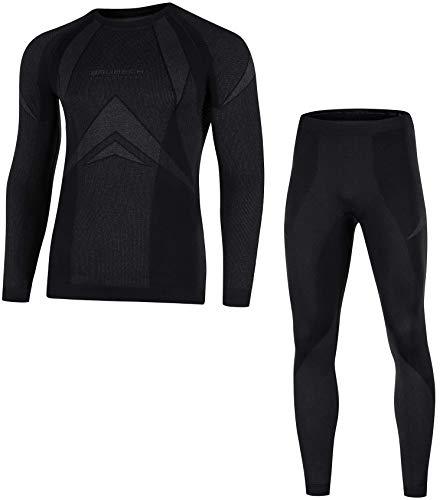 Brubeck Herren DRY SET Funktionsshirt + Funktionshose lang, 2011 - schwarz L (Unterwäsche, Laufbekleidung, nahtlos, Skiunterwäsche, Profiqualität) -