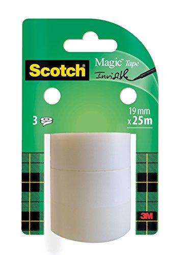Scotch Magic Tape Nastro Adesivo, 19 mm x 25 m, 3 Pezzi