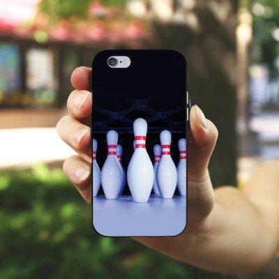 Apple iPhone 5s Housse Étui Protection Coque Bowling Pins Strike Housse en silicone noir / blanc