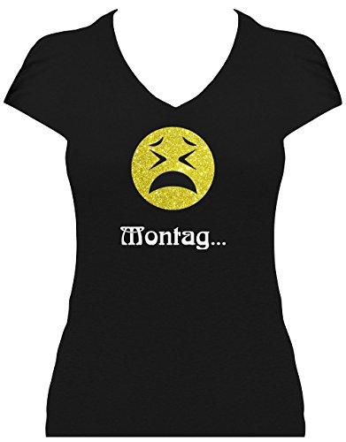 Shirt Damen Emoji Smiley Emoticon T-Shirt Fasching Karneval Kostüm Spruch Sprüche Montag Schwarz
