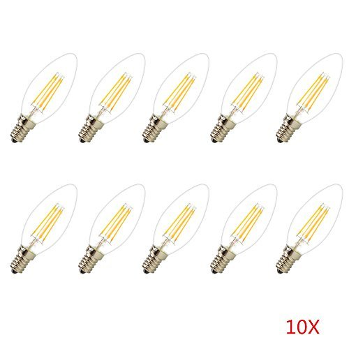 10 Stücke 4W E14 LED Filament Kerzenlicht Super helle Licht COB Epistar 427lumen 2800-3200K Warmweiße (220 VAC) nur Glas -