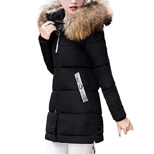 Las mujeres adelgazan abrigo con capucha invierno abajo chaqueta parka caliente largo acolchado capa (XL, Negro)