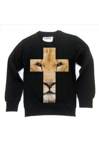 Animal Cross - Sweat col rond wise lion Blanc