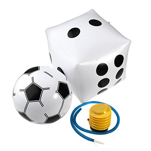 NUOLUX PVC Inflable Dice + Balón de Fútbol Blanco + Bomba Inflator...