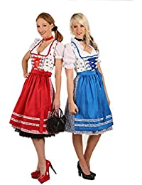 059bec4353390a Fuchs Trachtenmoden süßes Midi Dirndl rot o. blau / weiß 60er Länge Tracht