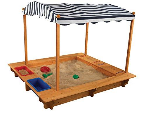 KidKraft 165 Garten-Sandkiste mit Sonnendach aus Holz für Kinder – dunkelblau & weiß