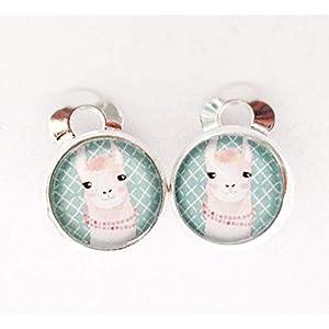 Lama Kinder Ohrclips Ohrringe handgefertigt by Schmuckphantasien in silber mit Glas-Cabochon und 10mm Motiv Alpaka türkis clips