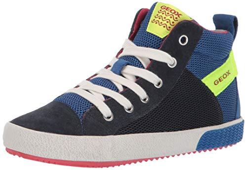 Geox Jungen J Alonisso Boy H Hohe Sneaker, Blau (Navy/Fluo Yellow C4502), 39 EU