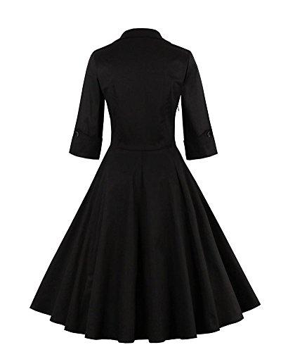 Femme Rétro Robe De Soirée/Bal/Cocktail Courte Vintage Année 40/50 Avec Des Manches 1/2 Avec Nœud De Papillon En Coton Noir