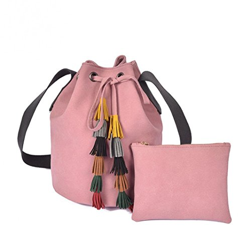 Koly_Lady Fashion Handbag Tassel Shoulder Bag Borsa borsa Rosa