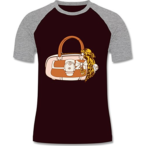 Symbole - Handtasche - zweifarbiges Baseballshirt für Männer Burgundrot/Grau meliert
