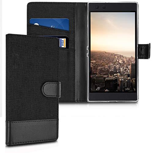 kwmobile Razer Phone 2 Hülle - Kunstleder Wallet Case für Razer Phone 2 mit Kartenfächern & Stand - Schwarz Anthrazit